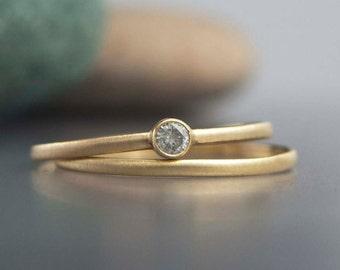 Tiny Diamond and 14k Yellow Gold Engagement and Wedding Band Set