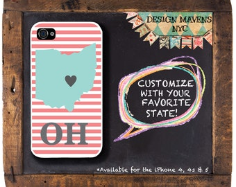 Ohio iPhone Case, Gift for Her iPhone Case, Personalized Ohio iPhone Case, iPhone 5, 5s, 5c, iPhone 6, 6s, 6 Plus, SE, iPhone 7, 7 Plus