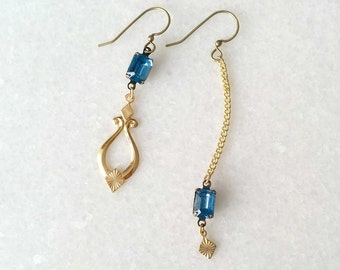 Topaz Blue and Gold Mismatched Earrings - Asymmetric Earrings - Sonate (SD1238)