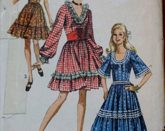 Simplicity 8875 Vintage Misses Square Dance Dress Sewing Pattern Size 12