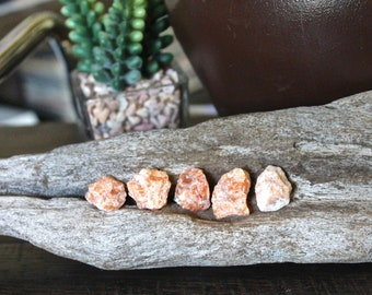 5 pcs. Raw Orange Calcite Stones, Wiccan Altar Supplies, Rough Gemstone, Chakra, Reiki Healing