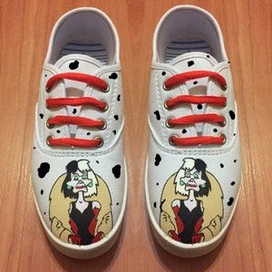 Cruella Deville Shoes. 101 Dalmatians hand painted shoes.