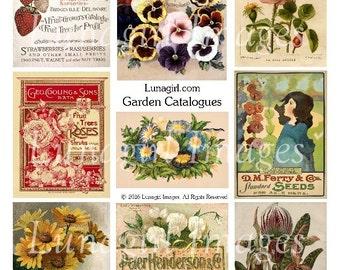 Feuille de collage numérique Vintage jardin catalogues, images fleurs victorien, éphémères imprimables, art floral pensées fraises Roses téléchargement