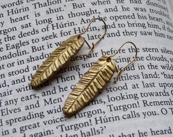 Feather earrings hippie boho polymer clay earrings
