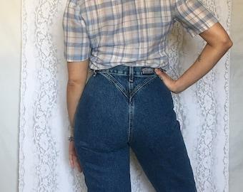 Vintage 80's high waist jeans/dark denim 80's blue jeans/long jeans