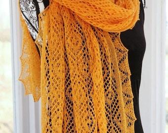 Yellow Marigold Fine Wool Lace Shawl Stole Apricot Calendula
