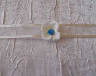 Necklace Ribbon tie flower wedding turquoise / ivory