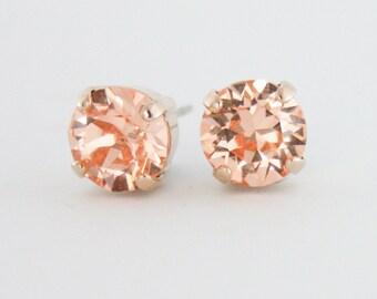 Peach crystal earrings,peach stud earrings,Swarovski peach,swarovski,peach earrings,peach rose gold earrings,rose gold earrings,stud earring