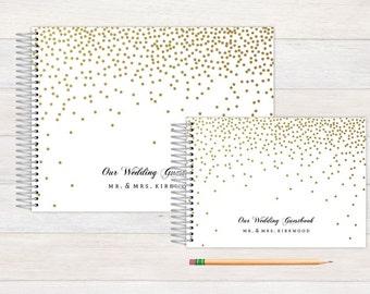 Wedding Guest Book, Wedding Guestbook, Custom Guest Book, Photo Guest Book, Personalized Guest Book, Wedding Registry Book, Gold Confetti