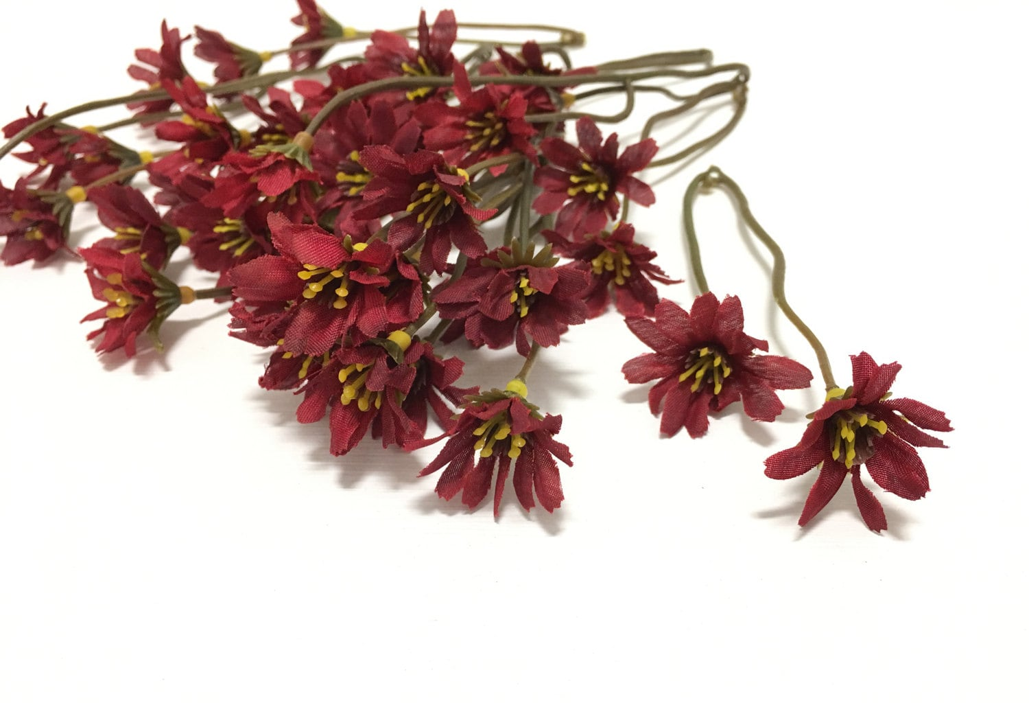 One Lot Red Artificial Wild Daisy Stems Flower Crown Halo