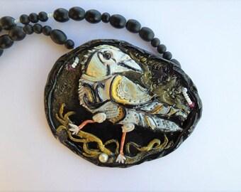 White Lucky Raven - unique pendant & necklace