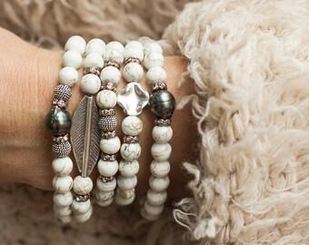 Stack Bracelets, Tahitian Pearl Bracelets, Boho Bracelets, Stretch Bracelets, Layered Bracelets, Magnesite Bracelets, Stackable Bracelets