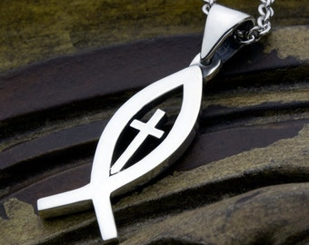 Sterling Silver Ichthus Christian Fish With Cross Necklace Pendant