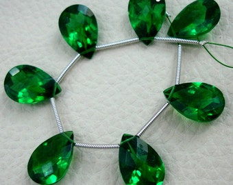 8 Inch Strand, EMERALD Green quartz Cut Pear Briolettes,SUPERB-FINEST-aaa Quality,very Low Price