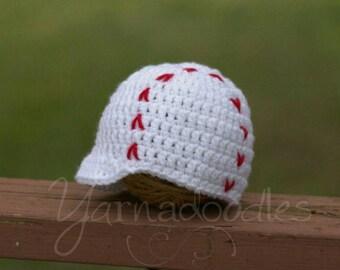 Baby Baseball Hat, Crochet Baseball Hat, Infant Baseball Hat, Baby Baseball Cap, Baseball Baby Prop, Baseball Baby Gift, Baseball Baby Hat