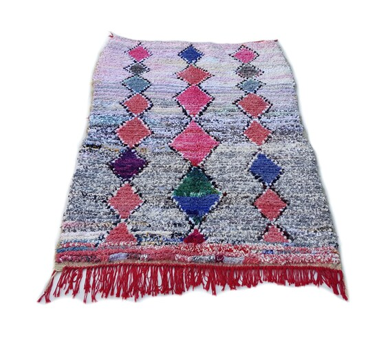 75X49 Moroccan Rug Handwoven From Scraps Of Fabric