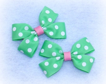 Mint Green & White ~ Polka Dot ~ Clippies ~ Pastel ~ Small ~ Mint Green ~ White ~ Baby ~ Toddler ~ Easter ~ Spring ~ Pigtails ~ Pink