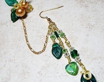 Emerald Green Chain Ear Cuff  Bajor Bajoran Earring, Gift for Her, Stocking Stuffer