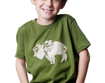 Toddler T-shirt or Youth T-shirt Vet Camouflage Buffalo Art for kids Olive