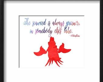 Sebastian - The Little Mermaid - Disney - Watercolor Art Print - Printable Decor - Watercolor Painting - Watercolor - Kids Decor Nursery