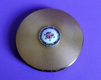 Large Brass Engine Turned Vintage Brass Powder Compact with Guilloche Hand Painted Centre Piece