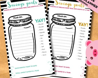 PERSONAL - Savings goal tracker, jar savings chart, Budget planner PRINTABLE PDF - inserts for filofax, kikki.K - Print on Personal paper