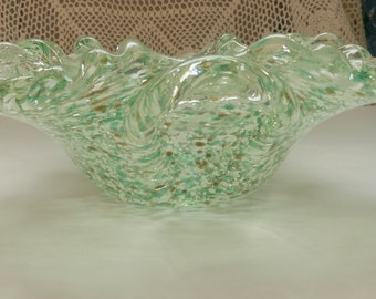 Vintage Murano Layered Green/Clear/ White/Brown Hand blown Speckled Art Glass Bowl