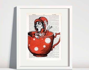 Mad Hatter Print,Alice in Wonderland art,dictionary art print,red tea cup,kids wall art, nursery wall decor,mad tea party art,gift no 279