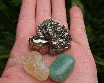 Prosperity and Abundance Kit, Citrine, Green Aventurine, Pyrite.