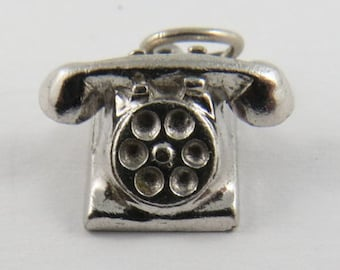Old Rotary Phone Sterling Silver Charm or Pendant.