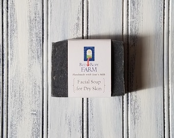 Sample of Charcoal Facial Soap for Dry Skin, Cold Process, 1 bar