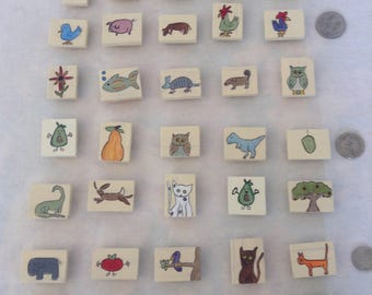 Hand Painted Wooden Refrigerator Magnets. Choose 3! for 12.00