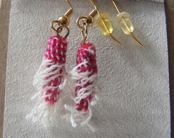Red and White cotton Fiber Bead Earrings lightweight