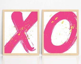 Hot Pink X and O *KISSES + HUGS* with Gold Splatter   Modern Prints A3   Abstract  Wall Decor