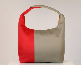 Women Lunch Bag, Insulated Lunch Bag, Two Tone Small Purse, Work Lunch Bag, Reusable Lunch Tote-Red Taupe Colorblock