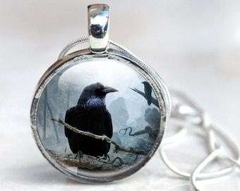 Raven Necklace - Glass Necklace - Black Crow Necklace - Raven Glass Necklace