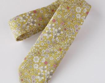 Floral Liberty print mens tie - Liberty June's Meadow yellow tie - Wedding tie - floral tie - Liberty tie