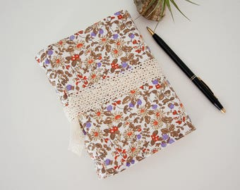 Writing Journal - Unlined Journal Handmade with Brown Floral Fabric Cover - Gift for Women