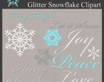Glitter Snowflake Clip Art Kit  PNG files CU Instant Download Clipart