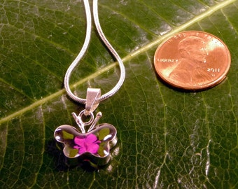 Sterling Silver Pressed Pink Flower Clear Mini Butterfly Pendant