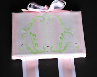 WE ADD your MONOGRAM: Boutique Girls Hand-Painted Hair Bow Holder on Canvas w/ Pink & Green Fleur de Lis