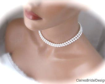 Double Strand Pearl Bridal Necklace Pearl Jewelry Handmade Wedding Jewelry