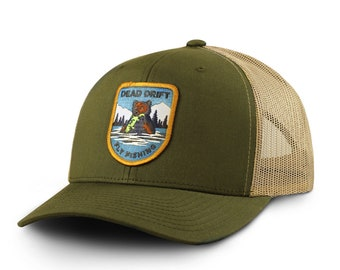 Fly Fishing Hat Griz Trucker Snapback Olive Khaki