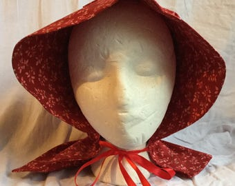 Red Floral Pioneer/Little House on the Prairie Sun Bonnet