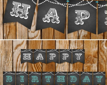 Chalkboard Happy Birthday Banner - Instantly Downloadable and Editable File - Personalize with Adobe Reader - Print at Home!