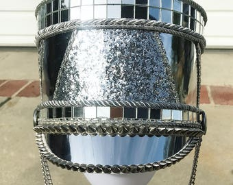 ALL CHROMED OUT - marching band hat, Burning Man hat, festival hat, captain's hat