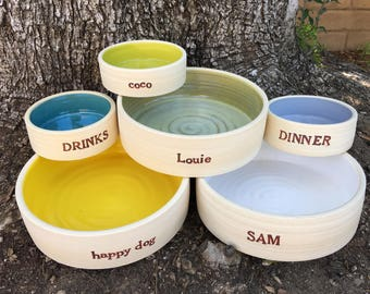 LARGE Dog Bowl, Custom, Dog Bowl, Ceramic Dog Bowl, Personalized, Large Breed, Pet Bowl, Food, Water, Pottery