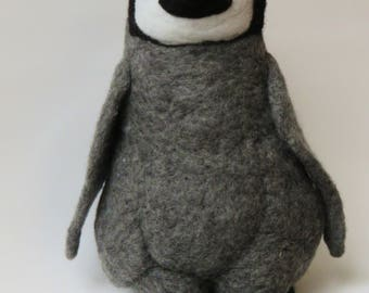 Baby Penguin Emperor sculpted felted wool.