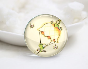 10mm 12mm 14mm 16mm 18mm 20mm 25mm 30mm Handmade Round Glass Cute Frog Photo Cabochons Image Glass Cover (P2585)