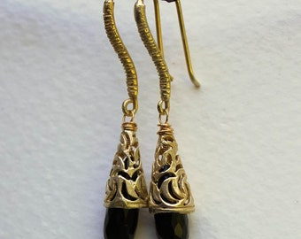 Gold, Onyx Earrings with Exotic Filigree Bead Caps